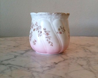 KT&K Lotus Ware  hand painted pot / cracker jar