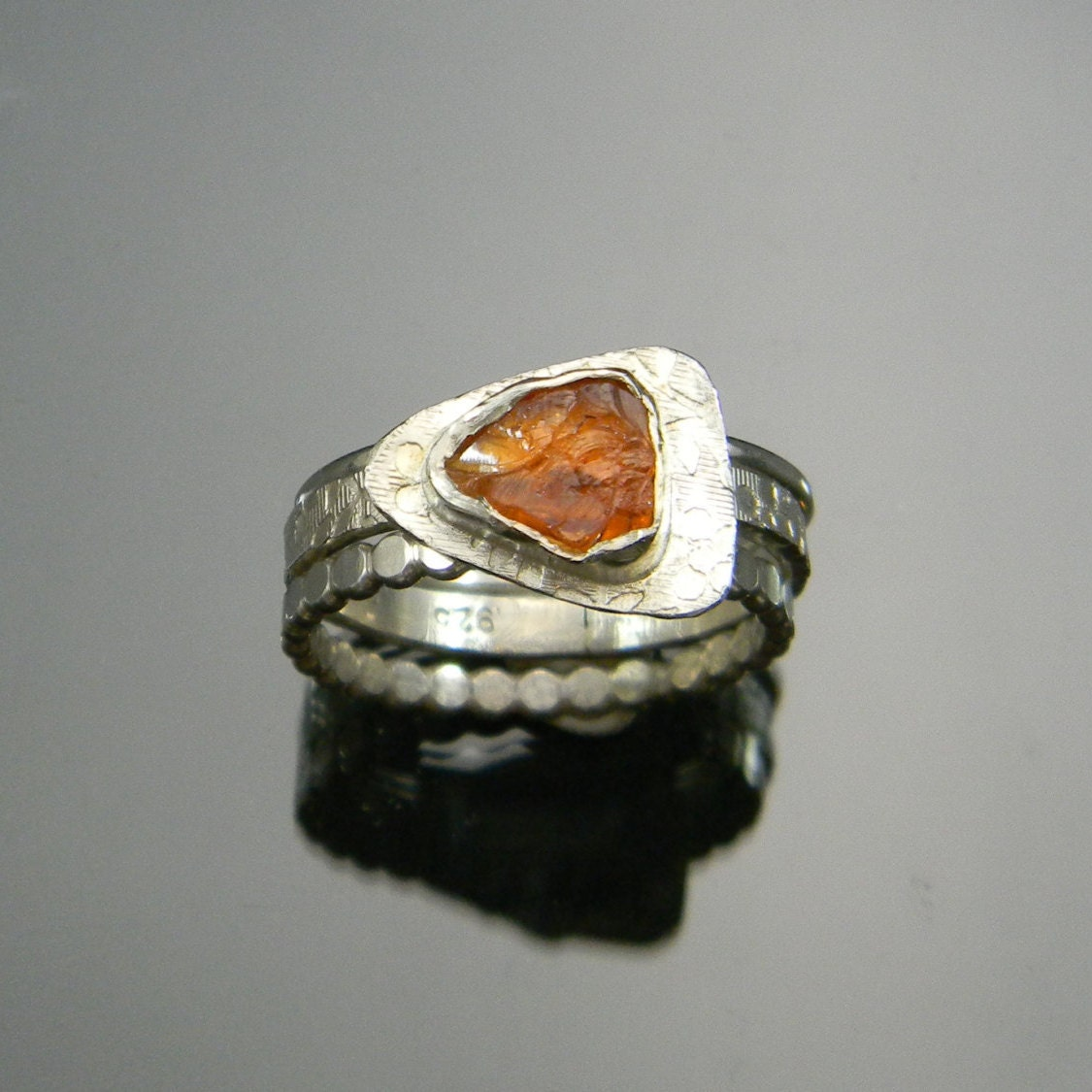 Garnet Ring Hessonite Garnet Stack Rings by ...
