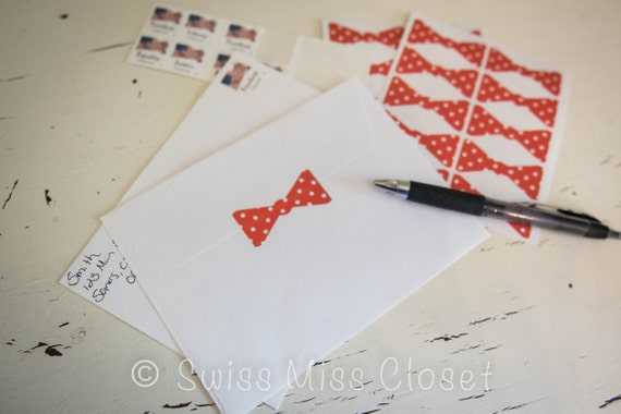 25 2 inch Polka Dot Orange Bow Tie Stickers, Envelope Seals, Party Favors, Party Glasses, Unlimited Possiblities
