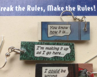 Comic Earrings - Making It Up As I Go