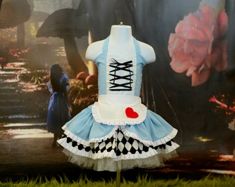 Boutique Custom Handmade Alice in Wonderland 2pc dress, Wonderland, Tea Party, Birthday, Photography 6T-10
