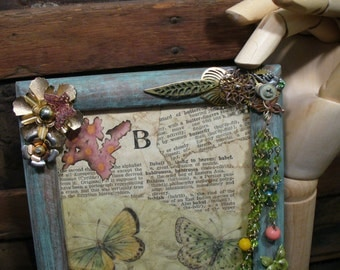 Steampunk Victorian Butterfly Garden Patina Picture Frame