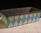 Vintage Kitchen, Primitive Loaf Pan, Retro Bread Loaf Pan, Blue White, Diamond Pattern, Paper Covered, Antique Kitchen, Farmhouse Antique