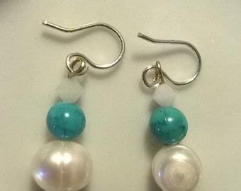 White Swarovski Turquoise and Fresh Water Pearl Earrings
