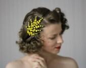 "Yellow Flower Headband, Floral Headpiece, 1950s Hair Accessory, Vintage Hairpiece - ""Heather Fields Aflower"""