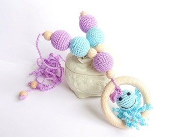 Crochet nursing necklace Octopus with Bow ring toy  Breastfeeding Teething necklace Slinging mom  CHOOSE YOUR COLOR