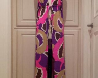 vintage Jantzen cover up / colorful 1960s beach cover up / swanky poolside lounge wear / hot pink purple brown psychedelic print