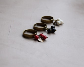 Adjustable ring bronze 3 stones