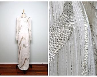 Heavily Beaded Wedding Gown // White & Silver Silk Beaded Full Length Dress // Art Deco Wedding Dress 32 34