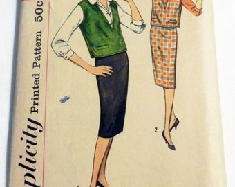 1950s Blouse, Pencil Skirt and Jerkin Vest sewing pattern Simplicity 2734 Size 16 Bust 36""