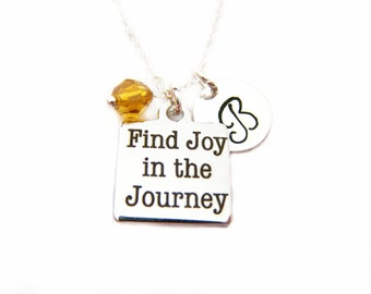 Find Joy in the Journey Charm Swarovski Birthstone Initial Personalized Sterling Silver Necklace / Gift for Her - Journey Necklace