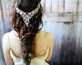 Vintage Head Piece Hair Jewelry, Wedding Headpiece, Crystal Headband, Wedding Headband, Bridal Hair Jewelry, Bohemian Bride