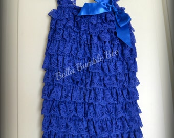 Royal Blue Baby Lace Petti Romper Romper, Pettiromper with Matching satin ribbon bow, Smash Cake Birthday Outfit, Vintage Clothing