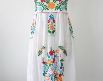 Embroidered Mexican Sundress Cotton Strapless Dress In White With Lining, Wedding Dress, Boho Dress