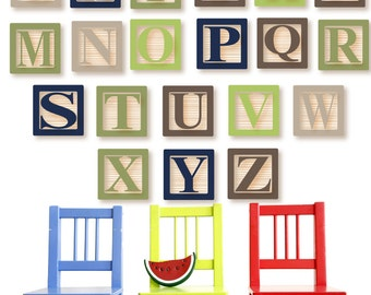 BABY BLOCK Decals Alphabet Wall Decal  REUSABLE Fabric Wall Decals