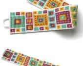 Beaded bracelet, geometric design, multicolor, beaded cuff, bead loom bracelet