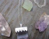 Amethyst Geode Slice Pendant on Silver Chain