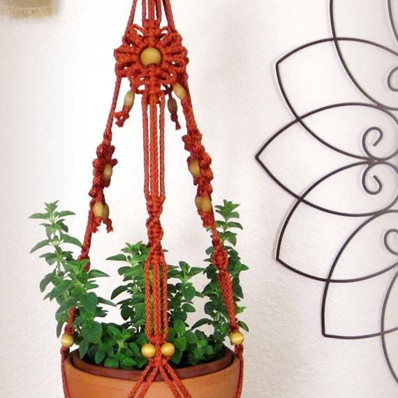 macrame pot holder hanging planter for 6 8 inch flower pot. Black Bedroom Furniture Sets. Home Design Ideas