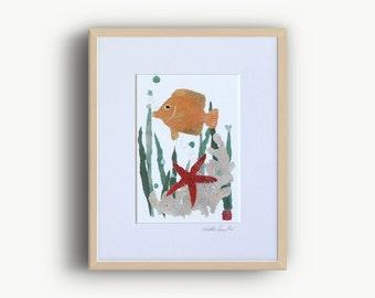 Sea Life Art, Angelfish, Starfish, Seaweeds, Tropical Fish Art, Coastal Decor