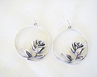 Silver rose charm earrings  - circle flower metal earrings - flower jewelry - circle hoop earrings - flower themed gift - flower charms