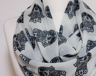 Hands of Fatima Infinity scarf, Hamsa Scarf, Circle scarf, Loop scarf, scarves, spring - fall - winter - summer fashion