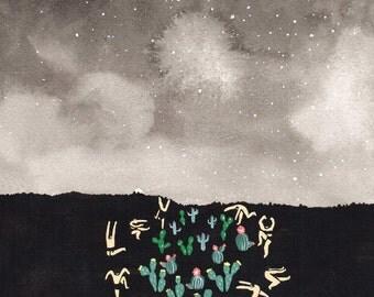 "Art Print of original painting - ""Midnight Desert"""