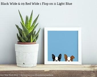 Boston Terrier Art Print, Peeking Boston Terrier Print, Animal Art Print, Boston Terrier Peeking Art Print, Dog Art Print, Dog Illustration