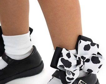 Cow Bow Socks, Dalmatian Bow Socks, Baby Cow Print Socks, Cow Girls Black White Socks, Toddler Pageant Cowgirls Socks, Animal Print Bow Sock