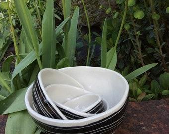 black picnic ceramic pottery nesting bowls