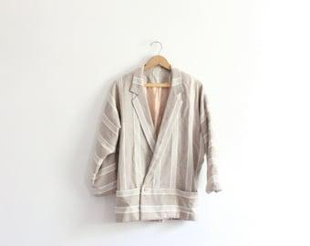 Beige Striped 90s Summer Jacket