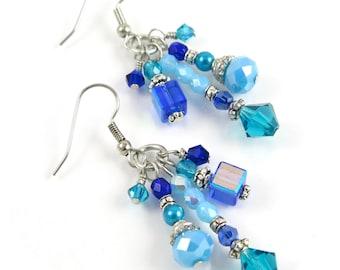 MAJOR MARKDOWN - Elegant Ocean Aqua Blue Crystal Tassel Statement Earrings