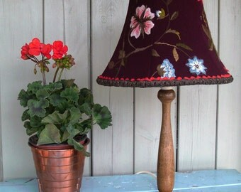 Vintage turned wood table lamp with handmade embroidered wool shade