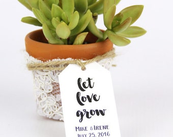 Let Love Grow Tags - Wedding Favor Tags - Succulent Favors - Plant Favors - Seed Favor Tags - Custom Tags - Personalized Tags - LARGE Size