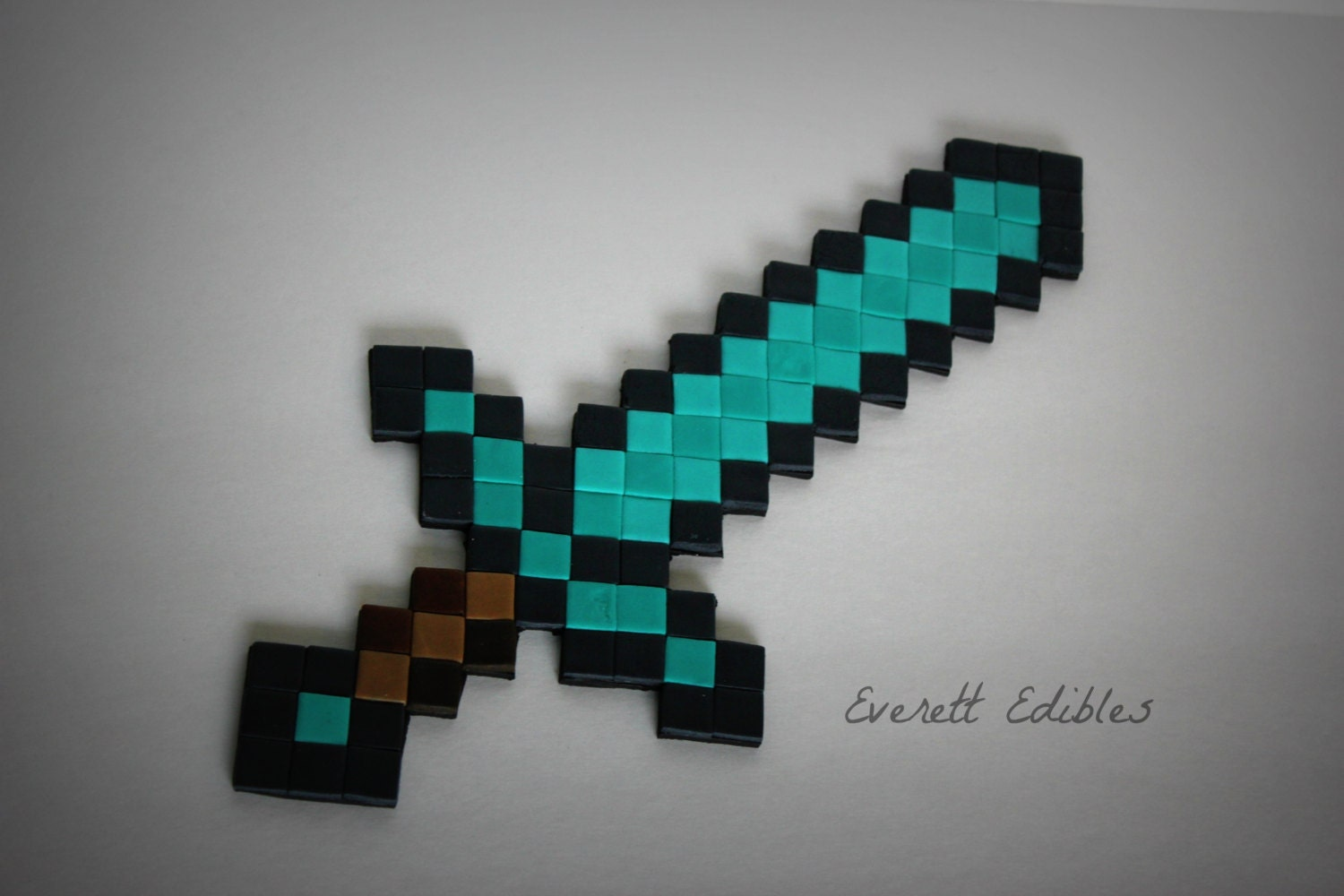 Minecraft Sword Cake Images : 12 Minecraft Diamond or Iron Sword Cake Topper by ...