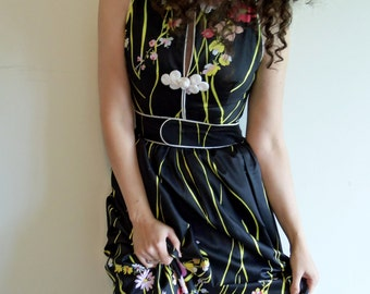 Vintage Custom Made Black and Floral Asian Inspired Fitted Maxi Dress Gown