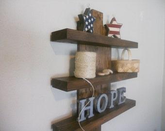 Rustic Wall Shelf, 3 Tier Rustic Modern Shelves, Floating Wall Shelves