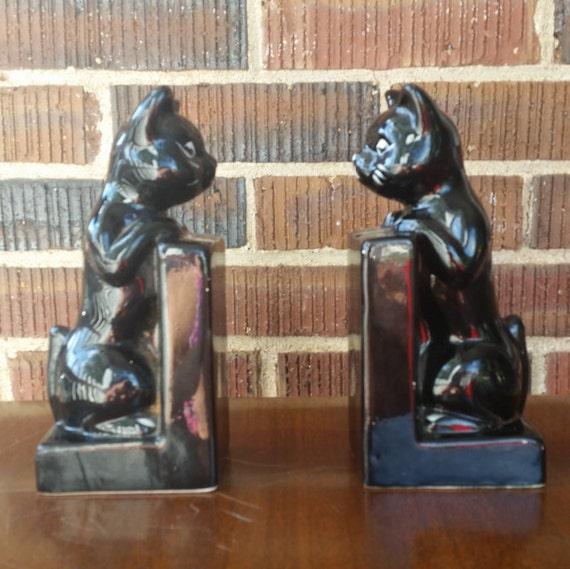 Porcelain Black Cat Bank Bookends