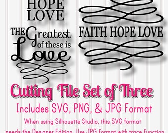 SVG Files Set of 3 Faith Hope Love-SVG PNG jpg all included-Cut File Words with Swirls for Wooden Signs Home Gifts Wedding Etc!