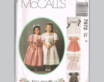 McCalls 7972 Girls Party Dress Pattern, Size 6, Uncut, Vintage 90s Kitty Benton Gourmet Sewing, classic style with sash