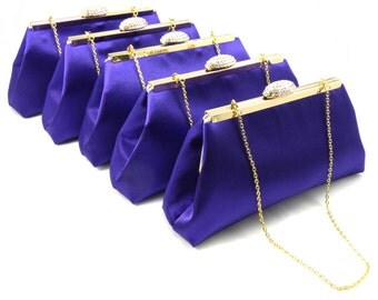 Set Of Five Bridesmaid Clutches 5% Off! Regal Purple and Gold Flake Bridesmaid Gift, Bridal Clutch, Wedding Clutch, Mother Of The Bride Gift