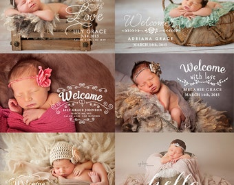 Newborn Birth Announcement Photo Overlays - Photography Newborn Words Overlays ID236