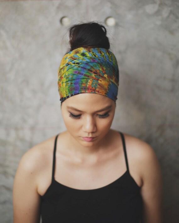 Hippie Tie Dye Headband Blue Splash Tie Dye-02 Hippie