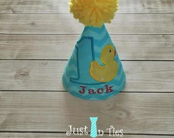 Rubber Duck Baby Boy First Birthday Hat Personalized