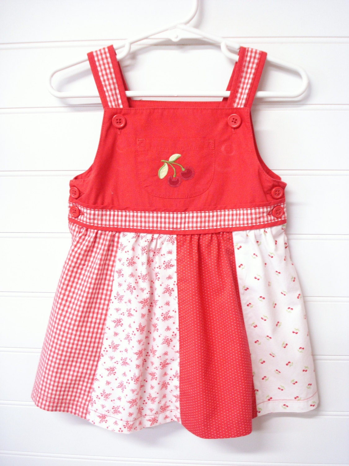 Vintage Baby Clothes Baby Girls Dress Red and White Floral