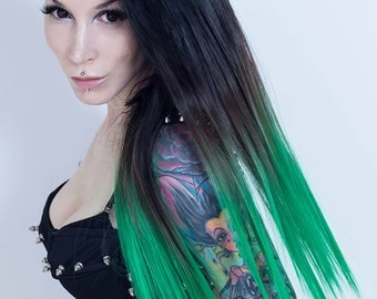 PennyWigs Ombre Green Dip Dyed Straight Clip-In Hair Extensions 7 piecesBlack fade layered natural realistic fine soft jade forest dark teal