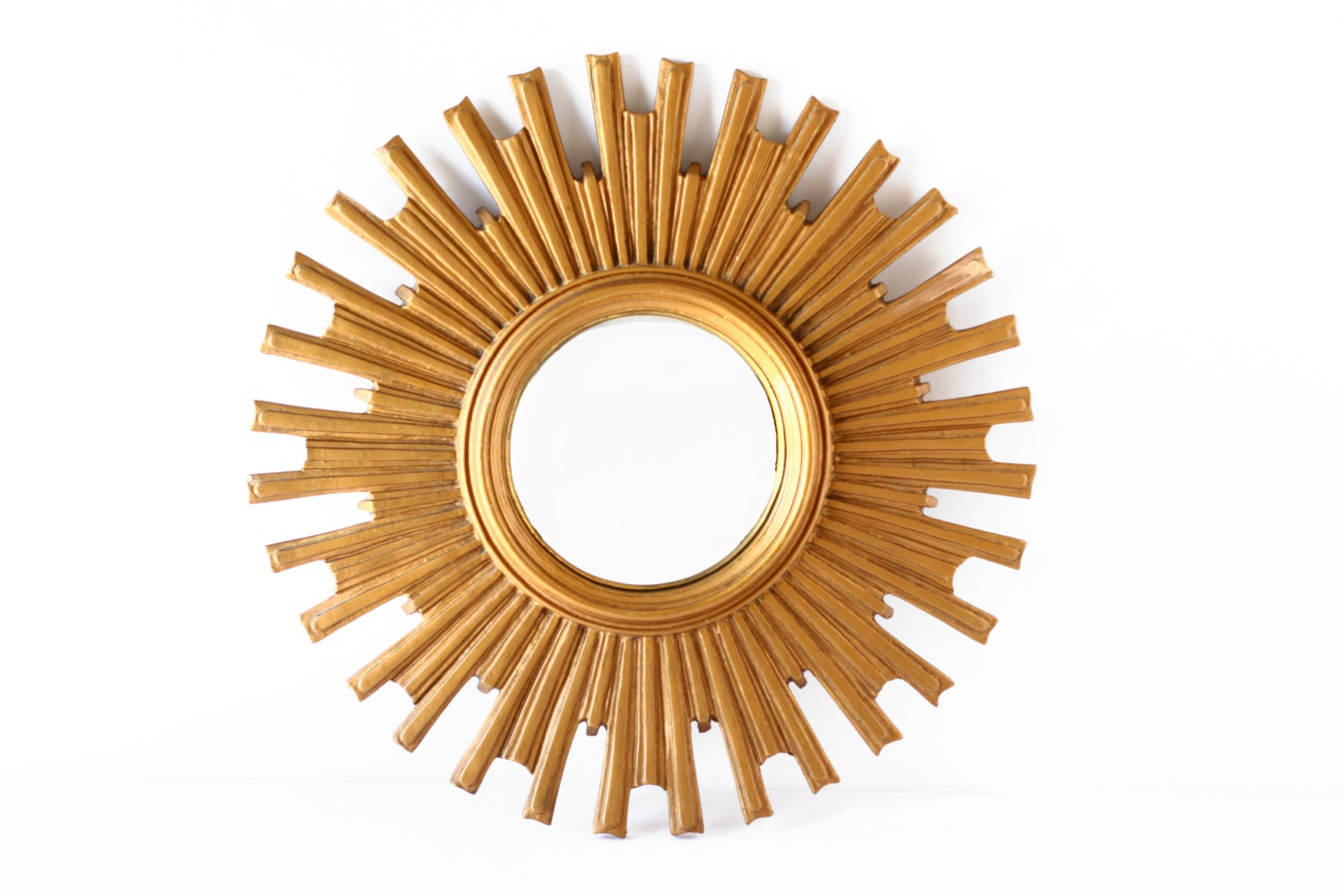 Large vintage gold sunburst mirror mid century by crolandco for Big gold mirror