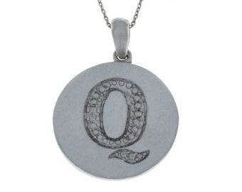 Letter Q Pendant .925 Sterling Silver Rhodium Finish