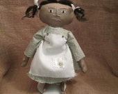 Primitive Coffee Stained Black Doll