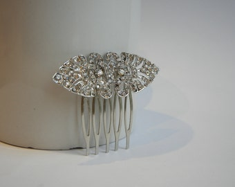 Diamante Hair Comb, Art Deco Hair Comb, Bridal Hair Comb, Vintage Hair Comb, Rhinestone Hair Comb, Silver Hair Comb, Bridal Hair Accessory.