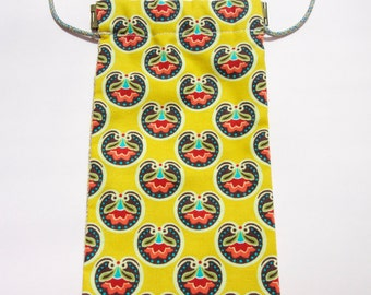 PB07 - Cross-body flex frame pouch for phone (Yellow Vera Bradley round floral print and a dainty floral print on a different side)